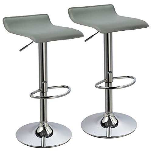 Duhome Bar Stools Modern Contemporary Adjustable with Leather Seat Bar Chairs Set of 2(Grey)