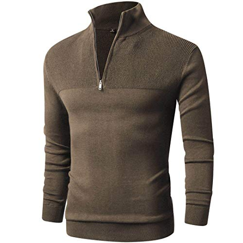 LTIFONE Mens Slim Fit Zip Up Mock Neck Polo Sweater Casual Long Sleeve Sweater and Pullover Sweaters with Ribbing Edge(Brown,L