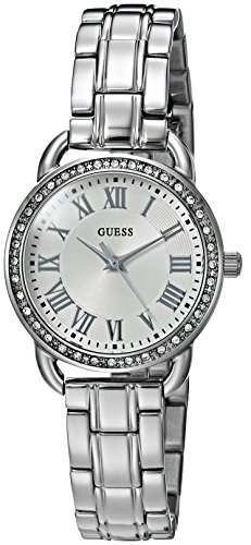GUESS Women's U0837L1 Dressy Silver-Tone Watch with White Dial , Crystal-Accented Bezel and Stainless Steel Pilot Buckle