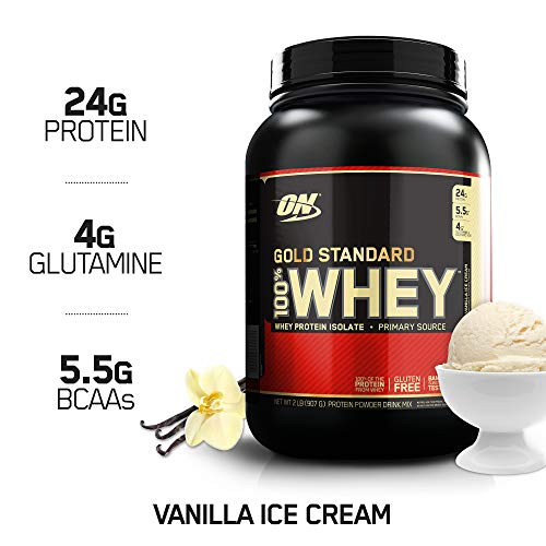 - OPTIMUM NUTRITION GOLD STANDARD 100% Whey Protein Powder From Whey Isolates, Vanilla Ice Cream - 2 Pound