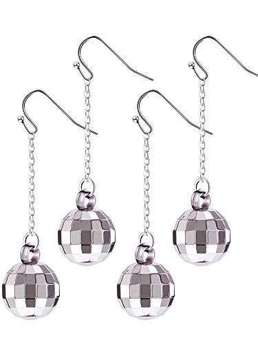 Tatuo 4 Pairs of Disco Ball Earrings 60's or 70's Silver Disco Ball Earrings for Women's Accessories