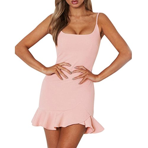 Mini Dresses for Womens, FORUU Lady Sexy Halter Ruffle Irregular Summer Sundress (Dress Convertible Ruffle Mini)
