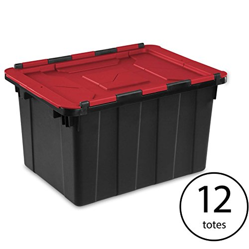 Sterilite 12 Gallon Hinged Lid Industrial Tote (12 Pack)