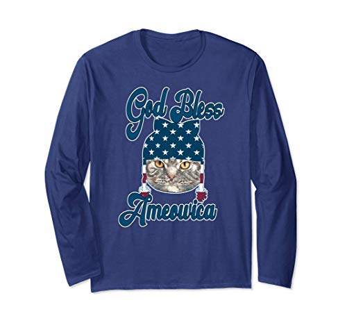 God Bless America Cat Lovers Patriotic Shirt Gift Long Sleeve T-Shirt