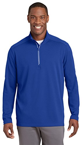Sport-Tek Mens Sport-Wick Textured 1/4-Zip Pullover (ST860) -TRUE ROYAL -S by Sport-Tek