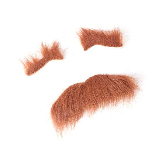 Lvcky Three-Piece Novelty Halloween Costumes Self Adhesive Fake Eyebrows Beard Moustache Kit Facial Hair Cosplay Props Disguise Decoration for Masquerade Costume Party (Brown)
