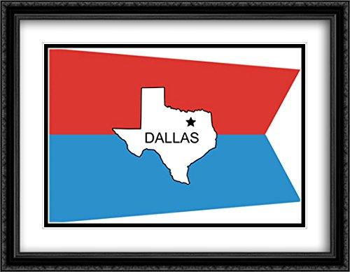 Dallas, Texas 2x Matted 36x28 Large Black Ornate Framed Art Print by The Flag Art Print - Dallas Galleria Texas
