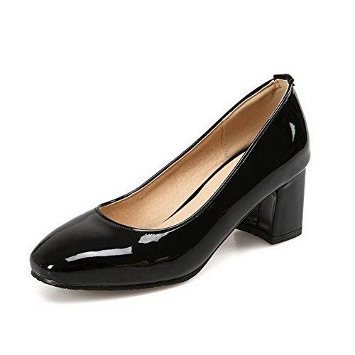 Odomolor Damen Quadratisch Zehe Ziehen auf Lackleder Rein Mittler Absatz Pumps Schuhe Schwarz