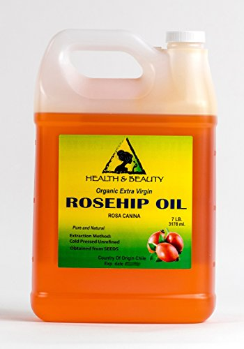 Rosehip Seed Oil Organic Unrefined Extra Virgin Cold Pressed Raw Premium Pure 128 oz, 7 LB, 1 gal