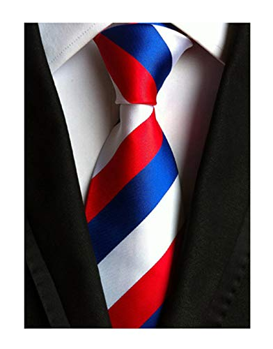Men Stripe Red Blue and White Jacquard Ties Formal Necktie For Big Boy Youth Son