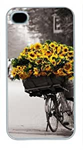 High Quality Fashion White Plastic Case for iPhone 4 Generation Back Cover Case for iPhone 4S with Sunflower