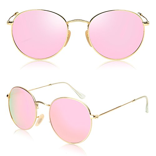 cc66c50550 SOJOS Small Round Polarized Sunglasses Mirrored Lens Unisex Glasses SJ1014  3447 with Gold Frame Pink