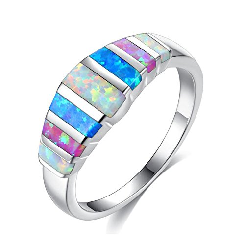 White Opal Thin (TEMEGO Women's Multiple Color Baguette Created Blue Purple White Fire Opal Silver Plated Engagement Rings)