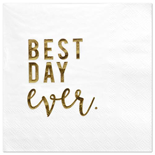 Andaz Press Best Day Ever, Funny Quotes Cocktail Napkins, Gold Foil, Bulk 50-Pack Count 3-Ply Disposable Fun Beverage Napkins for Engagement Party, Bridal Shower, Wedding Reception Bar