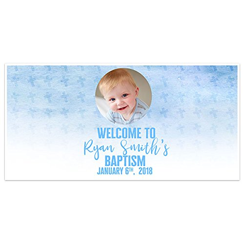 Personalized Photo Banner - Watercolor Custom Photo Baptism Banner Personalized Party Backdrop Decoration