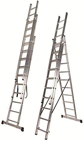 Escalera 3 Tramos Transformable Profesional de Aluminio Triple Tijera con Tramo Extensible (3+3+3 mts). Escada Tripla (3+3+3 mts): Amazon.es: Bricolaje y herramientas