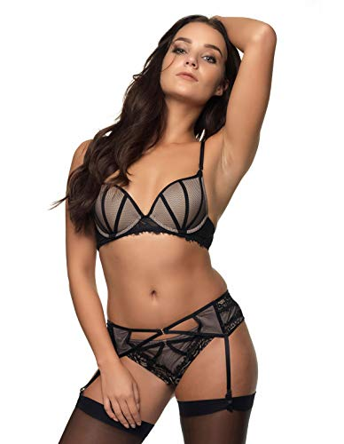 Garter t 10 Lace Eden Grace 41 gold T Suspender Belt Black 462 6055 Women's After 78RBwn