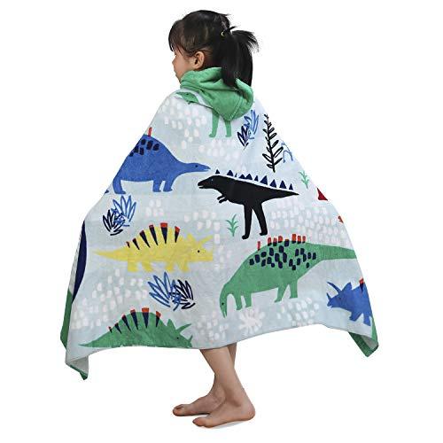 Childrens Swimming Towels (YISUN Kids Hooded Bath Towel, 100% Cotton Bath Towel Dinosaur, Super Soft & Absorbent Cotton Towel, Premium Hooded Towel for Boys Girls Bath Swimming Beach Holiday - 50x30)