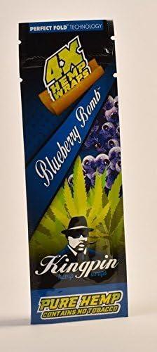 Full Box 25 Packs KINGPIN Blueberry Bomb Perfect Fold Hemp Wraps 4 Per Pack
