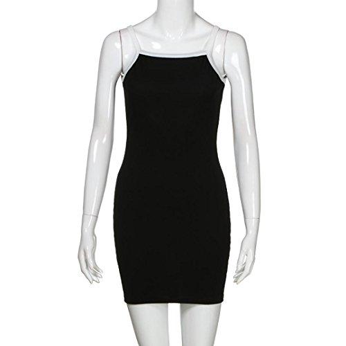 Damen Kleid Huhu833 Damen Casual Sleeveless OAnsatz festes Abend ...