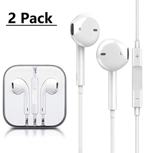LT Earbuds/Earphones/Headphones Stereo Mic Remote Control Compatible with Phone 6s/6 plus/6/5s/se/5c/iPad iPod 3.5mm Headphones(White)(2Pack)