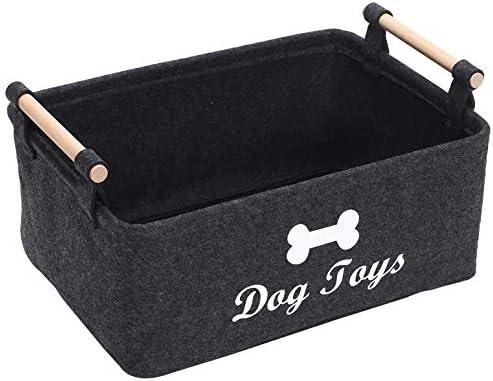 Geyecete Dog Toys Storage Bins -Wooden HandleDecorative Basket Rectangular Soft Felt Storage Bin Organizer Basket Pet Supplies Storage Basket/Bin Kids Toy Chest Storage Trunk