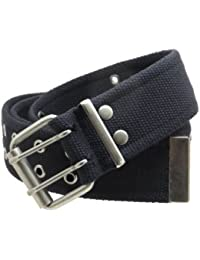 "Double Grommet Cargo Belt 1-3/4"" Wide Heavy-Duty Cotton Gunmetal Buckle"