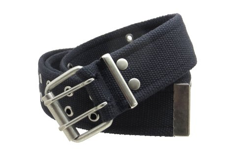 Double Grommet Cargo Belt 1-3/4' Wide Heavy-Duty Cotton Gunmetal Buckle