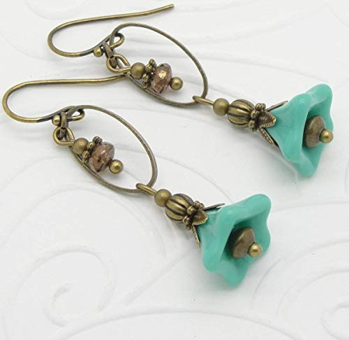 Blue Boho Earrings with Flower Beads and Hoops
