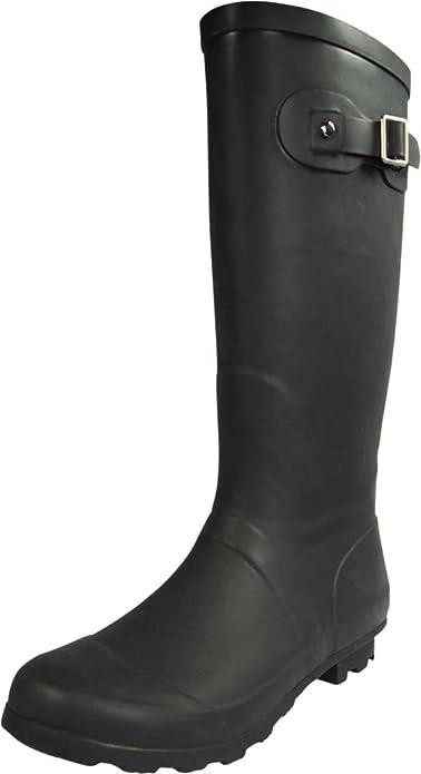 NORTY - Womens Hurricane Wellie Solid Gloss Hi-Calf Rain Boot, Matte Black 39969-8B(M) US