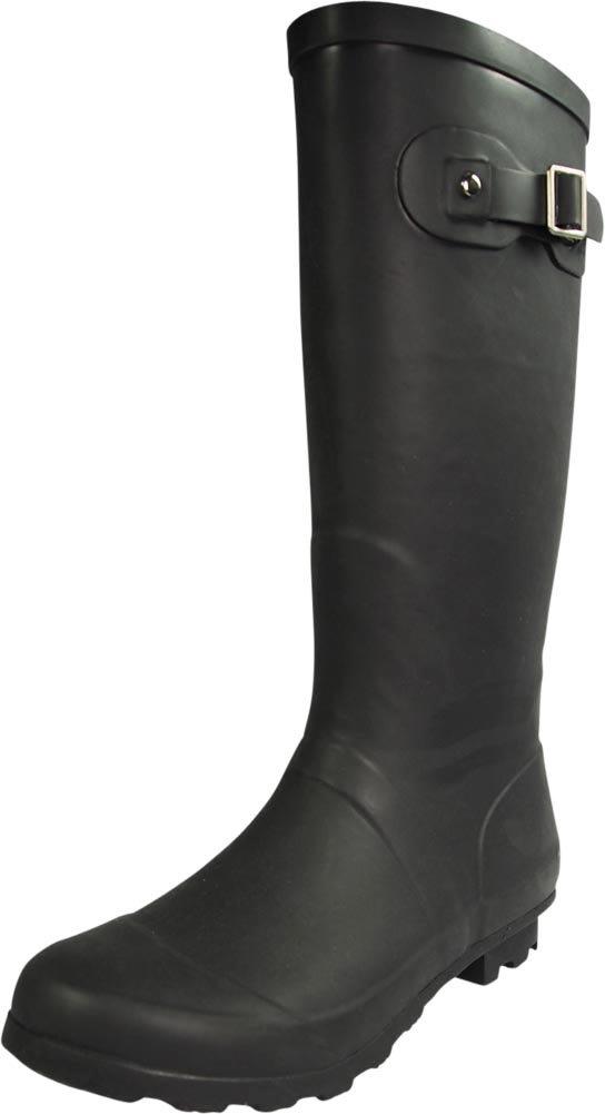 NORTY - Womens Hurricane Wellie Solid Gloss Hi-Calf Rain Boot, Matte Black 39969-7B(M) US