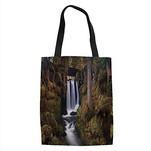 IPrint - Cascada mágica bajo Puente de Madera Vieja en Bosque, decoración de la Naturaleza, Color Verde, café, Blanco,...