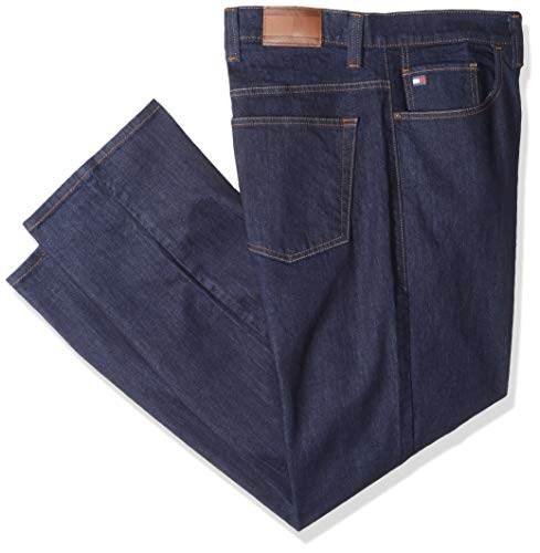 Tommy Hilfiger Men's Big and Tall Jeans Straight Fit, Rinse 42X34