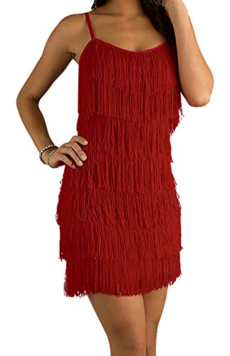 Cheryl Creations Women's Short All-Over Fringe Flapper Sleeveless Comfortable Day/Night Mini Dress with Adjustable Bra Straps (2X, Red)