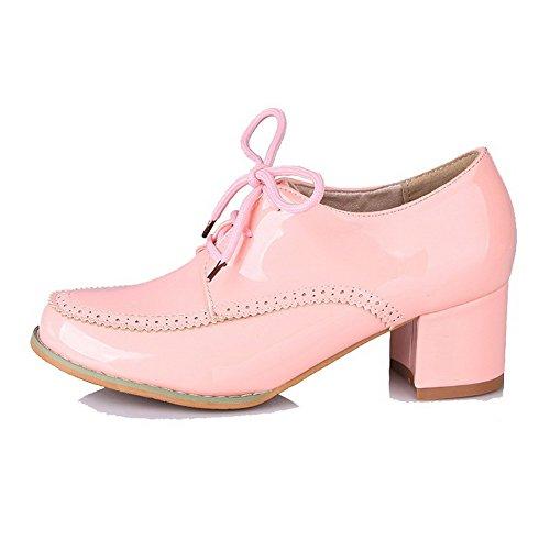 AgooLar Damen Mittler Absatz Rein Schnüren Lackleder Rund Zehe Pumps Schuhe Pink