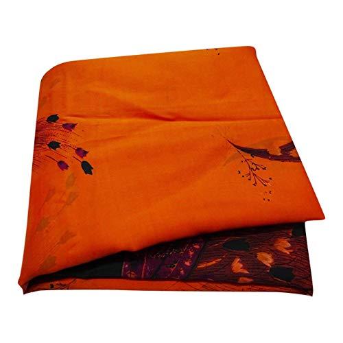 Peegli Indian Vintage Silk Blend Saree Orange Casual Wear Women Antique Formal Sari Floral Design Dress 5 Yard DIY Craft - Vintage Blend Silk