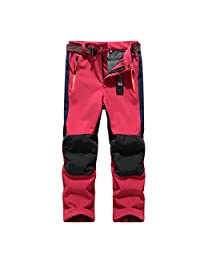 BOSOZOKU Kids Soft Shell Waterproof Pants Boys Girls Breathable Hiking Camping Outdoor Trousers