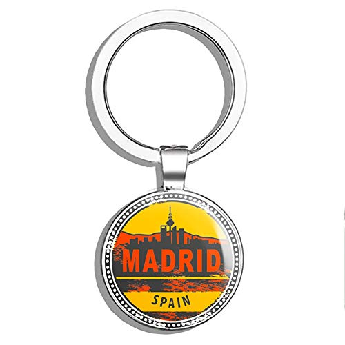 Glover Trading Madrid Spain Round Steel Metal Key Chain Keychain Ring Double Sided Deisgn (Keychain Madrid Metal Real)