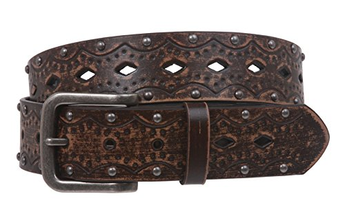 Studded Vintage Jeans - Snap on Studded Vintage Embossed Jean belt, Brown | S/M - 32