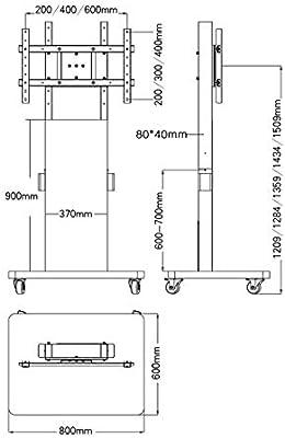 Xue Pantalla Vertical y Horizontal commutable Mobile TV Stand de Piso TV Mueble, para 32 – 60 Inch LCD LED Plasma TV Pantalla Plana Póster Altura Ajuster Ruedas diseño de Dormitorio Sala