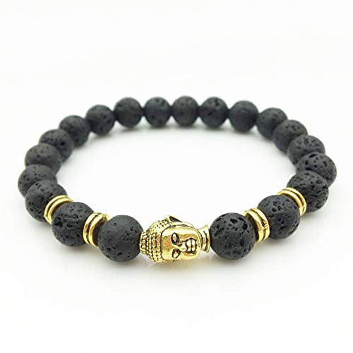 Amazon.com: Gold Buddha Head 8mm Black Lava Stone Beads DIY ...