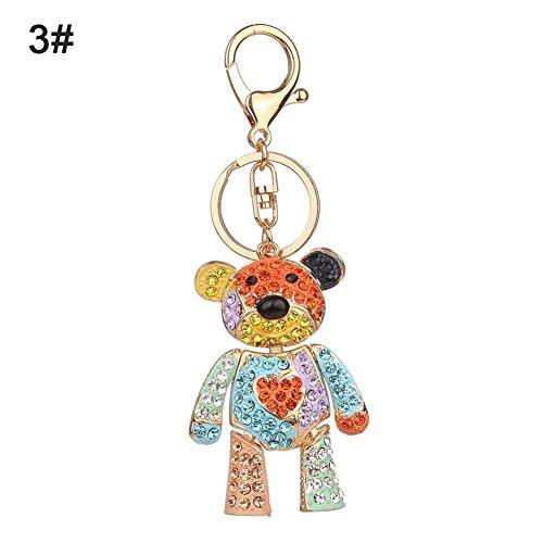 Bluelans Fashion Colorful Rhinestone Inlaid Bear Key Chain Pendant Keys Organizer Decor Valentine's Day/Mother's Day/Father's Day/Wedding/Anniversary/Party/Graduation/Christmas/Birthday Gifts