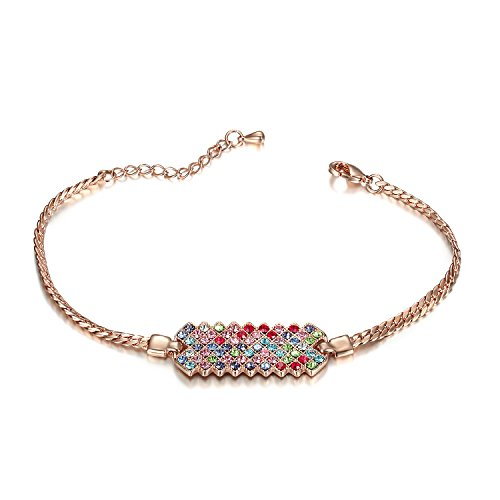 Lee Island Fashion Jewelry 18K Rose Gold Plated Multicolor Austrian Crystal Adjustable Fashion Bar Bracelet For Woman Girl Gift-Gift Packing MSRP USD120