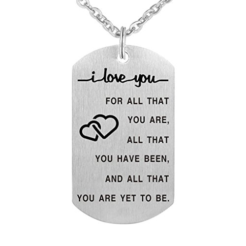 I Love You for All That You are Pendant Necklace with Key Ring Amazing Handmade Gift