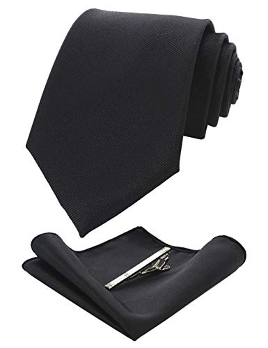 JEMYGINS Black Formal Necktie and Pocket Square, Hankerchief and Tie Bar Clip Sets for Men
