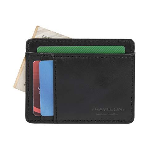 Travelon Luggage RFID Blocking Leather Cash and Card Sleeve, Black
