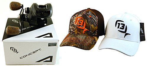 bundle-13-fishing-concept-a-a53-rh-531-right-hand-baitcast-fishing-reel-with-2-l-xl-hats