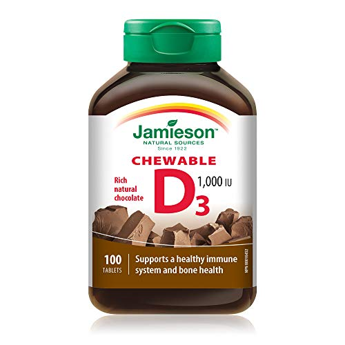 Jamieson Natural Chocolate Flavour Chewable Vitamin D 1,000 IU 100 Tablets