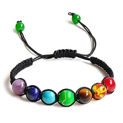 SODIAL 7 Cuentas de Equilibrio de curacion Chakra Pulsera Pulsera de energia de Yoga Vida Amantes del Arco Iris Joya Informal