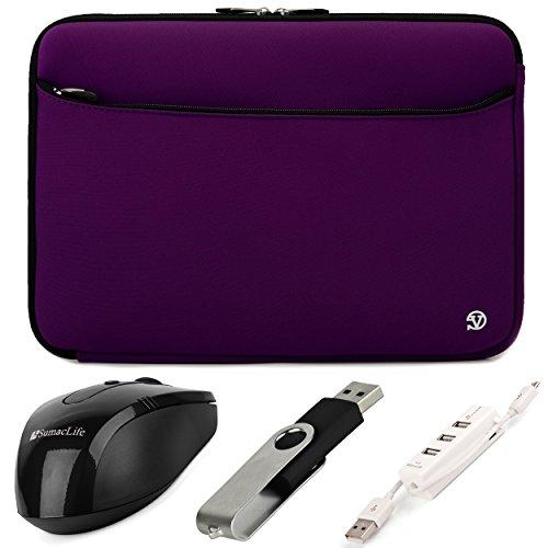 VanGoddy Neoprene Sleeve Cover for Fujitsu Lifebook 14-inch Laptops & Ultrabooks + Black SumacLife USB Mouse + Black 4GB Thumbdrive + 3 Port USB Hub (Purple)
